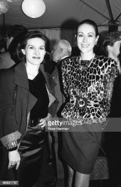 Fashion designers Paloma Picasso and Carolyne Roehm attend an AIDS benefit at Mortimer's in 1986 in New York City New York
