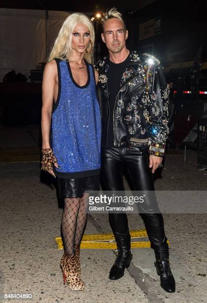 Fashion designers Phillipe Blond and David Blond are seen leaving the Blonds fashion show during New York Fashion Week The Shows at Gallery 1...
