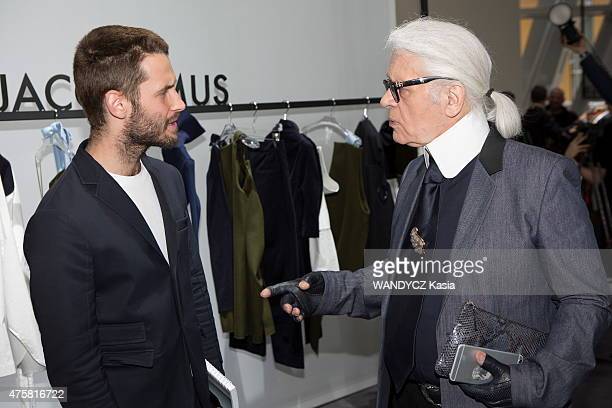 Fashion Designers Prize 2015 at the Foundation Louis Vuitton, Karl Lagerfeld and Simon Porte Jacquemus in may 22, 2015 in Paris, France.
