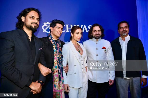 Fashion designers Rahul Mishra and Manish Malhotra with Malaika Arora jewellery designer Siddharth Kasliwal and artist Sudarshan Shetty at the third...