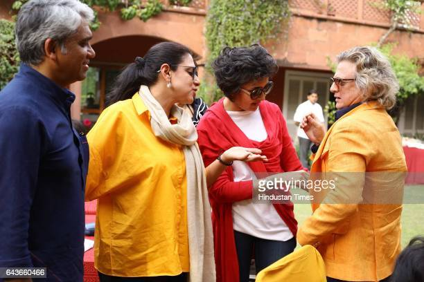 Fashion Designers Rajesh Pratap Singh Payal Pratap and Rohit Bal during a party to celebrate Basant Panchami over lunch at designer Ritu Kumar's...