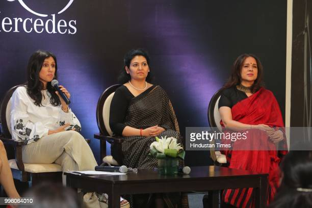Fashion designers Rina Dhaka MD of NutriHealth Dr Shikha Sharma and dancer Manjari Chaturvedi during the launch of Shes Mercedes an initiative of TT...