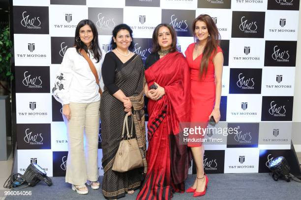 Fashion designers Rina Dhaka MD of NutriHealth Dr Shikha Sharma dancer Manjari Chaturvedi and Sonali Gupta during the launch of Shes Mercedes an...