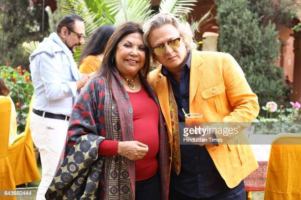 Fashion Designers Ritu Kumar and Rohit Bal during a party to celebrate Basant Panchami over lunch at designer Ritu Kumar's residence on February 18...