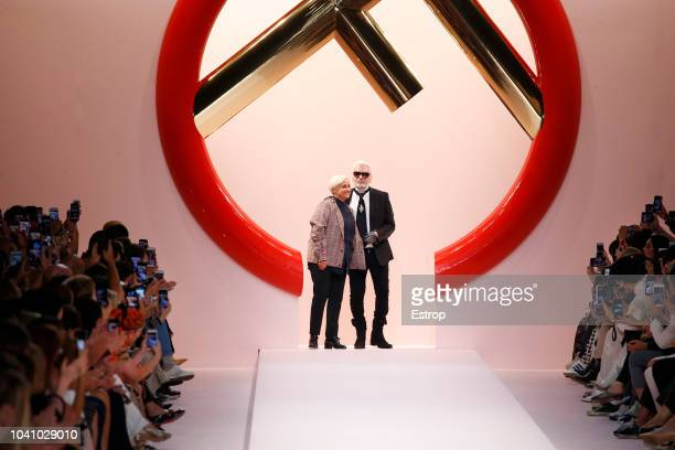 Fashion designers Silvia Venturini Fendi Karl Lagerfeld at the Fendi show during Milan Fashion Week Spring/Summer 2019 on September 20 2018 in Milan...