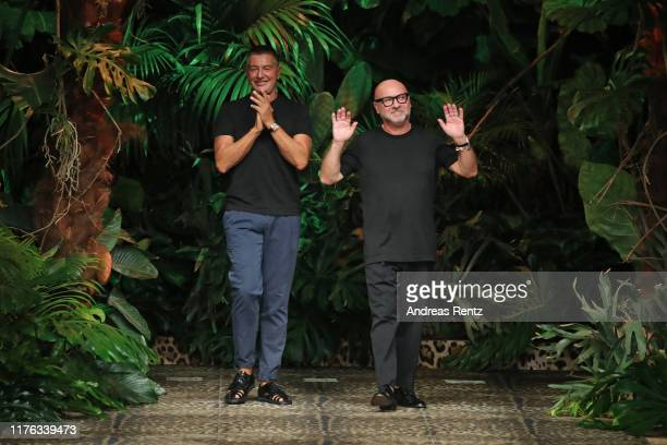 Fashion designers Stefano Dolce and Domenico Gabbana walk the runway at the Dolce Gabbana show during the Milan Fashion Week Spring/Summer 2020 on...