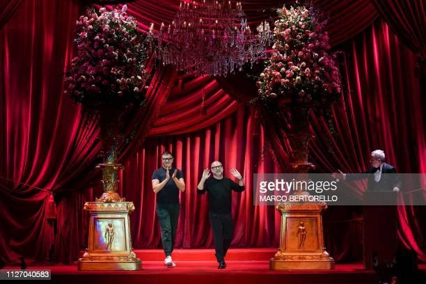 Fashion designers Stefano Gabbana and Domenico Dolce acknowledge applause following the Dolce Gabbana women's Fall/Winter 2019/2020 collection...
