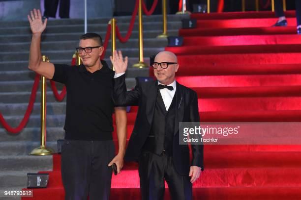 Fashion designers Stefano Gabbana and Domenico Dolce gesture prior the Dolce Gabbana Alta Moda and Alta Sartoria collections fashion show at Soumaya...