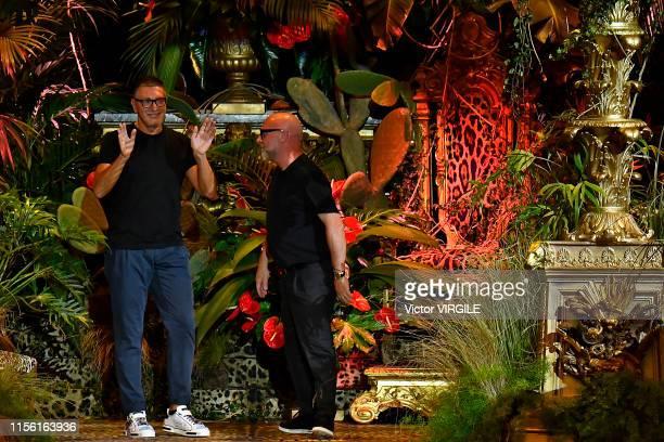 89987a717da Fashion designers Stefano Gabbana and Domenico Dolce walk the runway at the  Dolce Gabbana fashion show