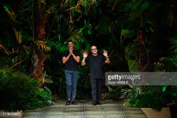 Fashion designers Stefano Gabbana and Domenico Dolce walk the runway at the Dolce Gabbana Ready to Wear fashion show during the Milan Fashion Week...