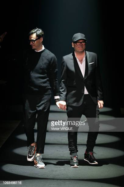 Fashion designers Tom Notte and Bart Vandebosch walk the runway at the Les Hommes show during Milan Menswear Fashion Week Autumn/Winter 2019/20 on...