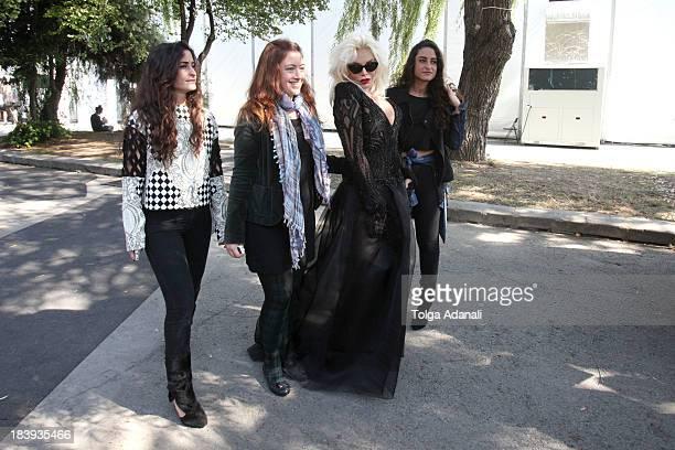 Fashion designers Vanessa Sason Raisa Sason and actress Ajda Pekkan attend MercedesBenz Fashion Week Istanbul s/s 2014 presented by American Express...