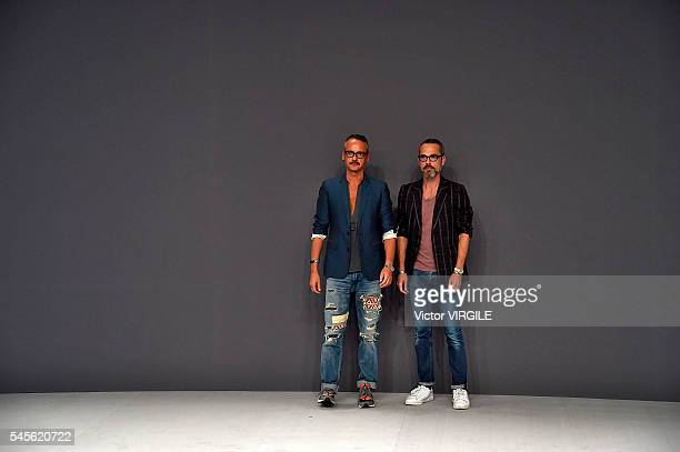 Fashion designers Viktor Horsting and Rolf Snoeren walk the runway during the Viktor Rolf Haute Couture Fall/Winter 20162017 show as part of Paris...