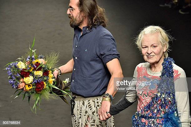 Fashion designers Vivienne Westwood and Andreas Kronthaler walk the runway at the Vivienne Westwood show during Milan Men's Fashion Week Fall/Winter...