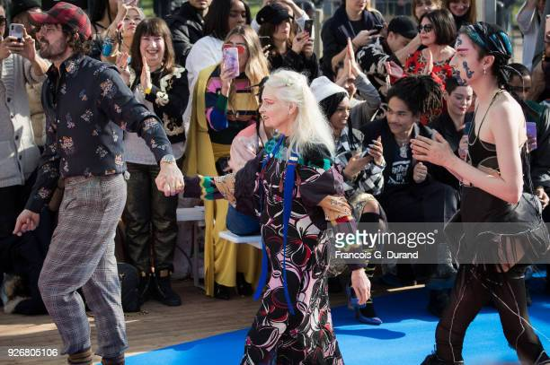 Fashion designers Vivienne Westwood and Andreas Kronthaler walk the runway during the Vivienne Westwood show as part of the Paris Fashion Week...