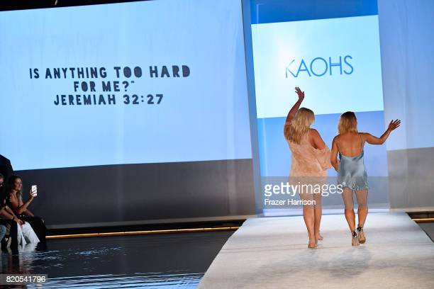 Fashion designers walk the runway during the SWIMMIAMI KAOHS 2018 Collection fashion show at WET Deck at W South Beach on July 21 2017 in Miami Beach...