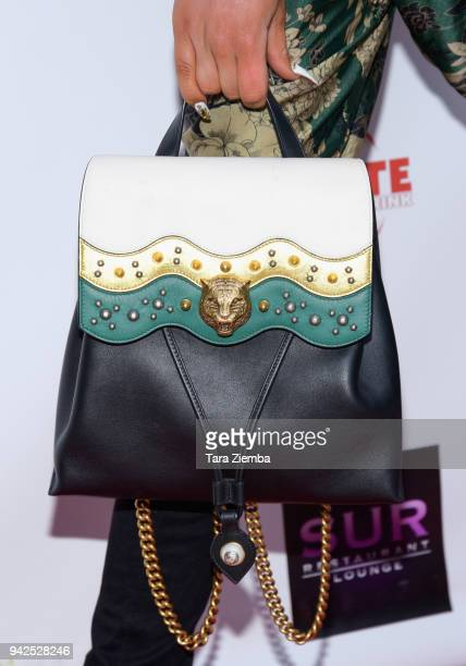 Fashion designer/tv personality Matt Sarafa purse detail attends West Hollywood Lifestyle Magazines celebration of their spring 2018 issue on April 5...