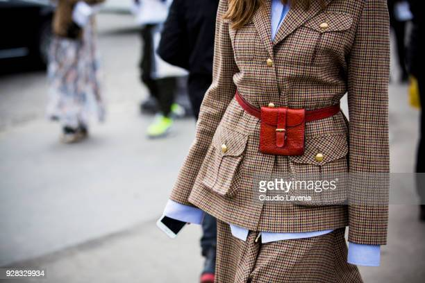Fashion detail is seen in the streets of Paris after the Chanel show during Paris Fashion Week Womenswear Fall/Winter 2018/2019 on March 6 2018 in...