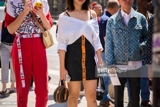 Fashion detail of black Heron Preston dress is seen in the streets of Paris before the Louis Vuitton show during Paris Men's Fashion Week...