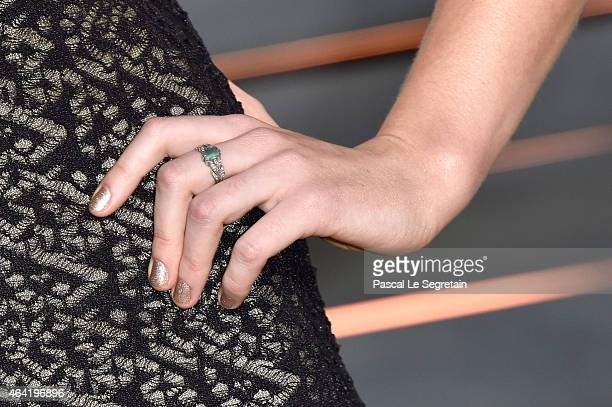 Fashion detail of Jordan Hewson at the 2015 Vanity Fair Oscar Party hosted by Graydon Carter at Wallis Annenberg Center for the Performing Arts on...