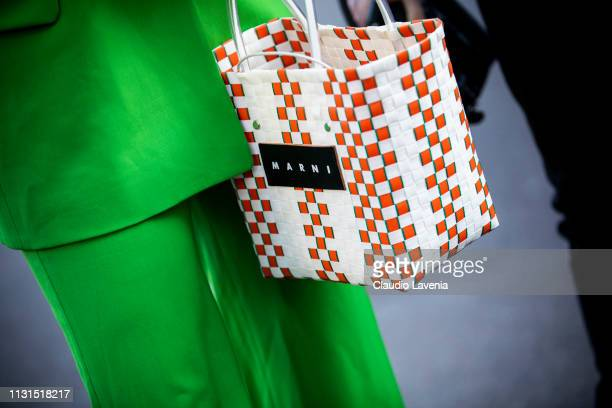 Fashion detail of Marni bag, is seen outside Tod's on Day 3 Milan Fashion Week Autumn/Winter 2019/20 on February 22, 2019 in Milan, Italy.