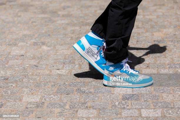 Fashion detail of Nike for Off White shoes is seen in the streets of Paris before the Louis Vuitton show during Paris Men's Fashion Week...