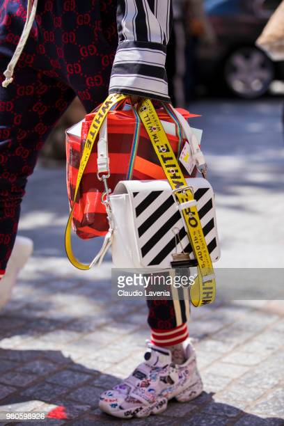 Fashion detail of Off White bag is seen in the streets of Paris before the Louis Vuitton show during Paris Men's Fashion Week Spring/Summer 2019 on...