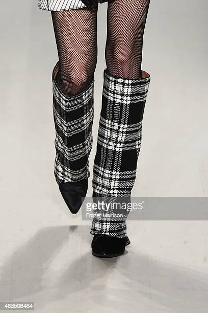 A fashion detail on the runway at the Custo Barcelona fashion show during MercedesBenz Fashion Week Fall 2015 at The Salon at Lincoln Center on...