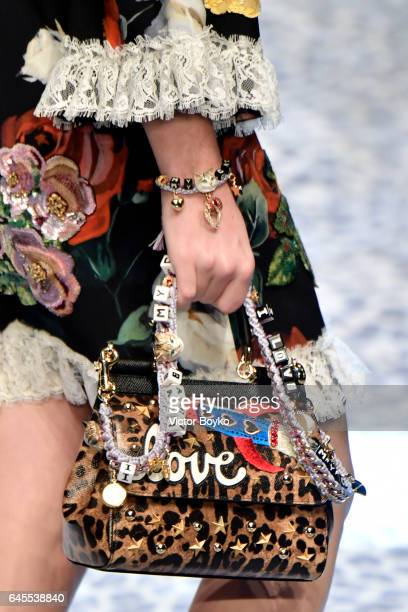 A fashion detail on the runway at the Dolce Gabbana show during Milan Fashion Week Fall/Winter 2017/18 on February 26 2017 in Milan Italy