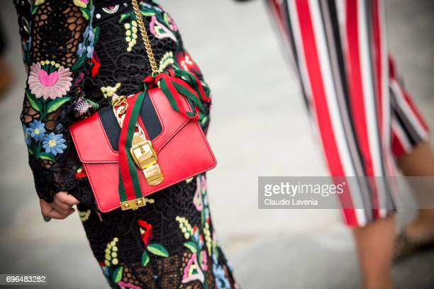 Fashion details of Gucci bag is seen during Pitti Immagine Uomo 92 at Fortezza Da Basso on June 15 2017 in Florence Italy
