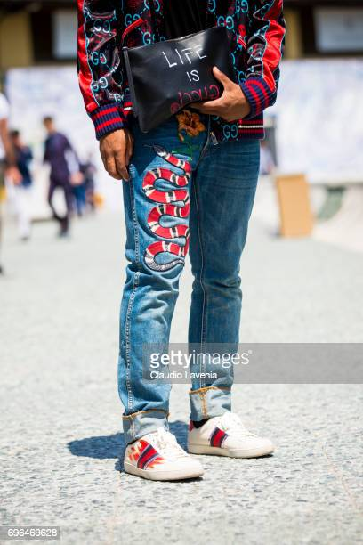 Fashion details of Gucci total look are seen during Pitti Immagine Uomo 92 at Fortezza Da Basso on June 15 2017 in Florence Italy