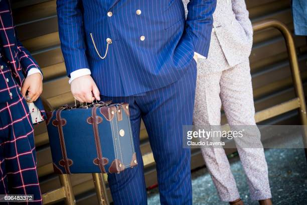 Fashion details of vintage luggage is seen during Pitti Immagine Uomo 92 at Fortezza Da Basso on June 15 2017 in Florence Italy