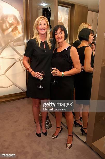 Fashion Director Amber Estabrook poses with Cinzia Zanotti during the Giuseppe Zanotti NY store reopening party at trhe Giuseppe Zanotti Design...