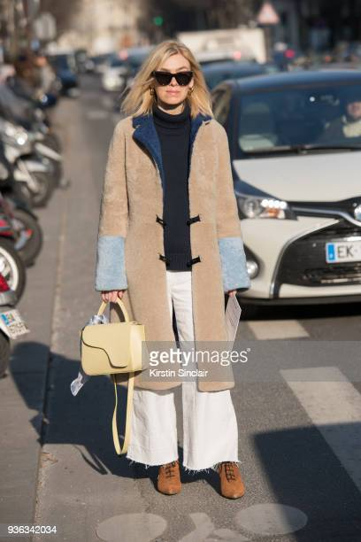 Fashion director at Elle Denmark Josephine Aarkrogh wears an ATP Atelier bag day 3 of Paris Womens Fashion Week Spring/Summer 2018 on February 28...