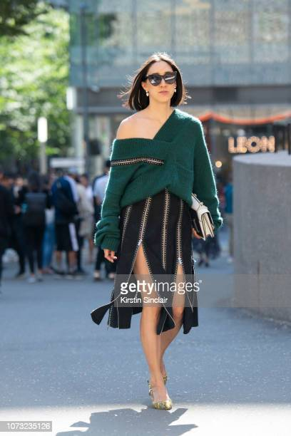 Fashion director at Instagram Eva Cheng wears a Christopher Kane dress Alexander Mcqueen sunglasses M2malletier bag and Kalda shoes during London...
