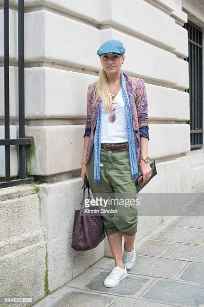 Fashion Director at The Rake Magazine Sarah Ann Murray wearing a Zara top and trousers Ralph Lauren hat Anderson and Sheppard scarf and Bottega...