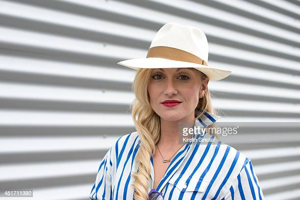 Fashion Director for The Rake magazine Sarah Ann Murray wearing a Ralph Lauren shirt Italian Independent sunglasses and a Lock and Co hat on day 3 of...