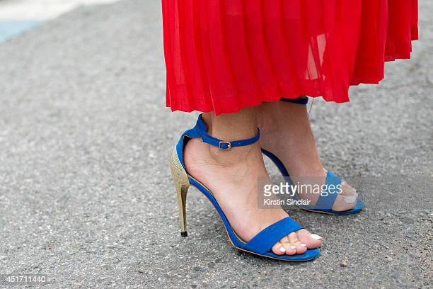 Fashion Director for The Rake magazine Sarah Ann Murray wearing a Mango skirt and shoes on day 3 of Paris Collections Men on JUNE 27 2014 in Paris...