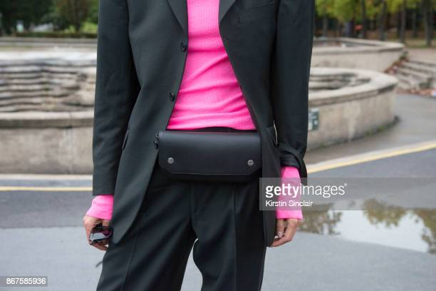 Fashion Director for Vogue Ukraine Julie Pelipas wears a Vintage blazer Celine sweater and bag day 3 of Paris Womens Fashion Week Spring/Summer 2018...