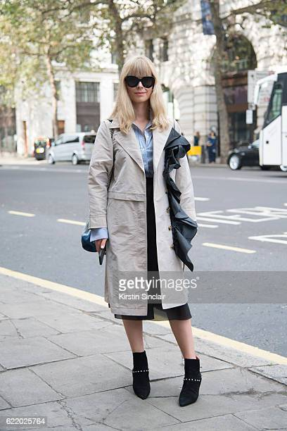 Fashion director Mosha Lundstrom Halbert wears a Tommy Hilfiger jacket Joseph shirt Orla Kiely skirt Dorateymur boots Roger Vivier bag and Celine...
