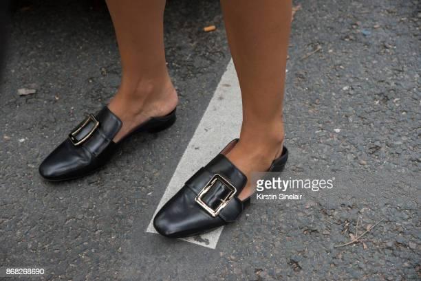 Fashion director of ODDA magazine Georgia Tal wears Dorateymur shoes day 3 of Paris Womens Fashion Week Spring/Summer 2018 on September 28 2017 in...