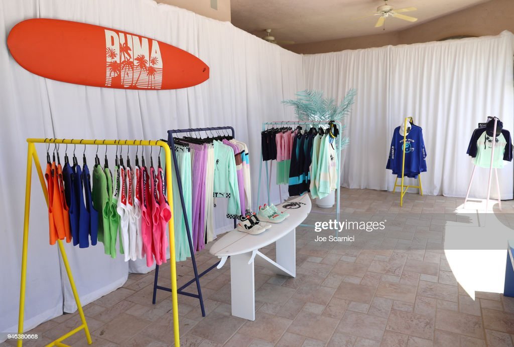 Fashion display atmosphere seen at the FentyXPUMA Drippin event launching the Summer '18 collection at Coachella on April 14, 2018 in Thermal, California.