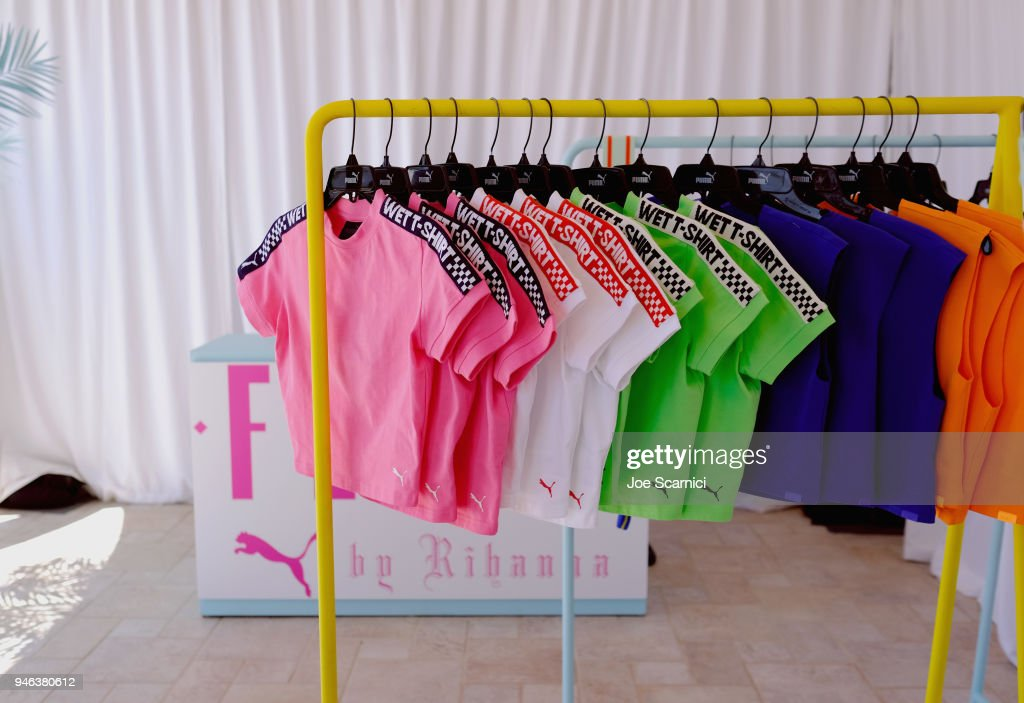 Fashion display seen at the FentyXPUMA Drippin event launching the Summer '18 collection at Coachella on April 14, 2018 in Thermal, California.