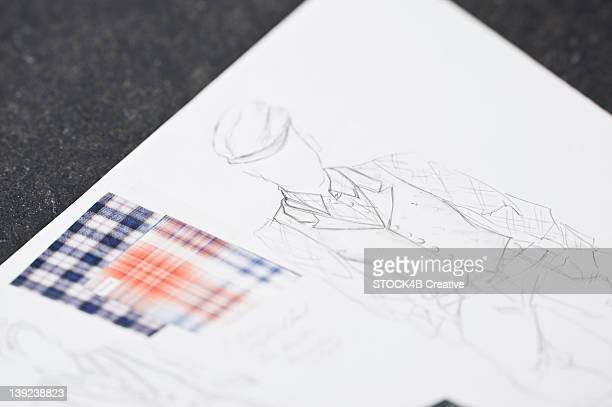 fashion draft and fabric swatch - custom tailored suit stock pictures, royalty-free photos & images
