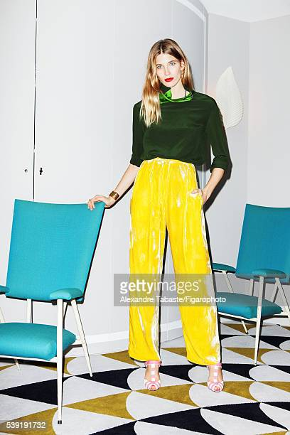 Fashion editor and creator of Hey Woman website Veronika Heilbrunner is photographed for Madame Figaro on March 2 2016 in Paris France Top and pants...