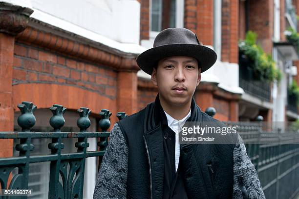 Fashion Editor and designer John Jarrett wears a Y3 jacket and By Sju hat on day 1 of London Collections Men on Januay 8 2016 in London England John...