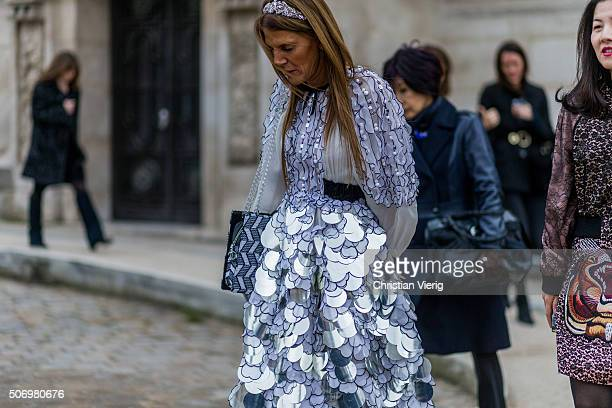 Fashion Editor Anna dello Russo outside Chanel during the Paris Fashion Week Haute Couture Spring/Summer 2016 on January 26 2016 in Paris France