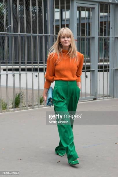 Fashion Editor at Costume Magazine Jeanette Friis Madsenwears a JW Anderson bag Frame sweater HM trousers and Balenciaga shoes day 3 of Paris Womens...