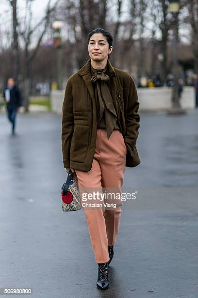 January 26: Fashion editor Caroline Issa outside Chanel during the Paris Fashion Week -Haute Couture- Spring/Summer 2016 on January 26, 2016 in...