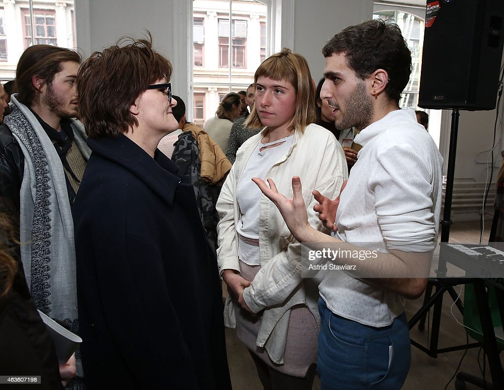 Fashion editor Cathy Horyn talks with Eckhaus Latta fashion designers Zoe Latta and Mike Eckhart at Eckhaus Latta -Front Row during MADE Fashion Week Fall 2015 on February 16, 2015 in New York City.